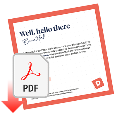 Gift Card Personal Planner™, PDF
